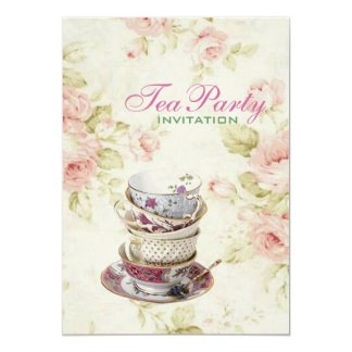 Cartão tea party nupcial do vintage floral elegante do