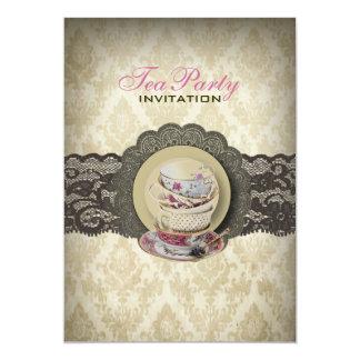 Cartão Tea party nupcial dos teacups florais do laço do