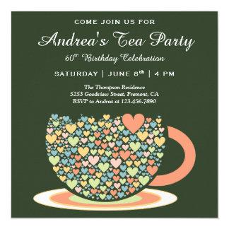 Cartão Tea party verde bonito colorido do aniversário do