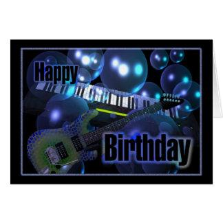 Cartão Teclado da guitarra do feliz aniversario