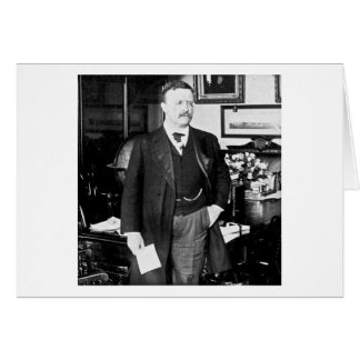 Cartão Teddy Roosevelt no vintage 1912 branco da casa