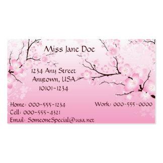 Cartão telefónico delicado da flor de cerejeira modelo cartões de visita