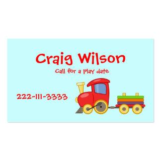 Cartão telefónico do trem dos desenhos animados cartão de visita