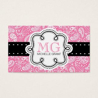 Cartão telefónico feminino de Paisley do rosa da