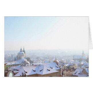 Cartão Telhados do inverno de Praga