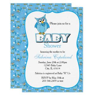 Cartão Tema azul do chá de fraldas da coruja | das