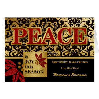 Cartão Tema da paz do feriado do negócio no ouro vermelho