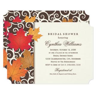 Cartão Tema da queda do outono do chá de panela |