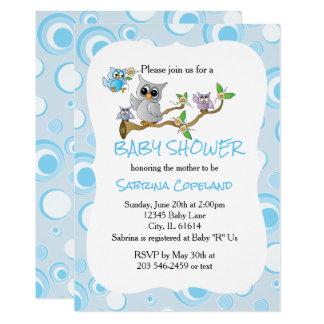 Cartão Tema do chá da coruja | do bebê azul