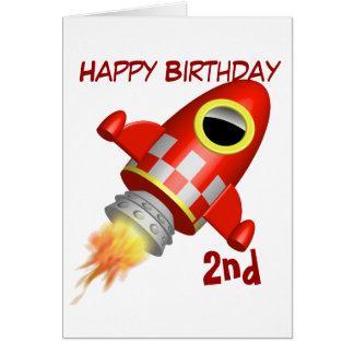 Cartão Tema do navio de Rocket do feliz aniversario ò