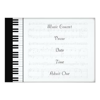 Cartão Tema do piano do bilhete da admissão do concerto