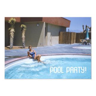 Cartão Tema dos anos 50 da festa na piscina