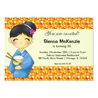 Cartão Tema japonês do aniversário