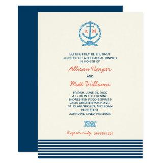 Cartão Tema náutico do jantar de ensaio | do casamento