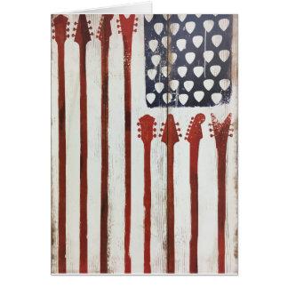 Cartão Tema patriótico da música da guitarra da bandeira