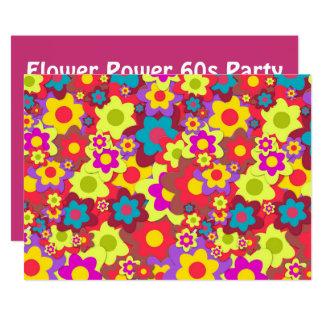 Cartão Tema retro do partido do hippy 60s