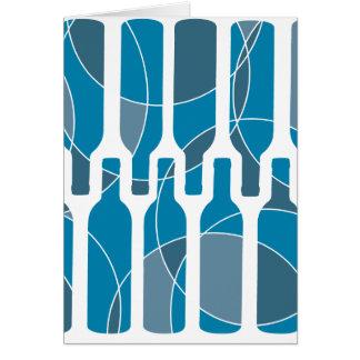 Cartão temático azul da garrafa de vinho