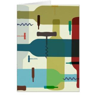 Cartão temático da garrafa de vinho
