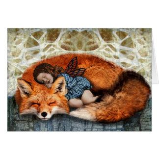 Cartão Tempo da sesta (Fox & criança)