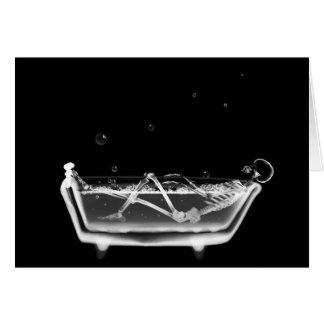 Cartão Tempo de esqueleto do banho do raio X B&W