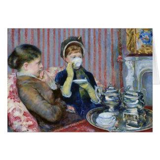 Cartão Tempo do chá que recolhe o aniversário das belas