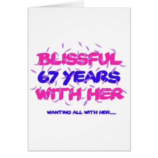 Cartão Tendendo o 67TH design do aniversário do casamento