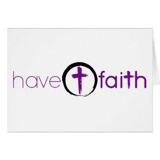 Cartão Tenha o roxo de Notecard da fé com cruz do círculo