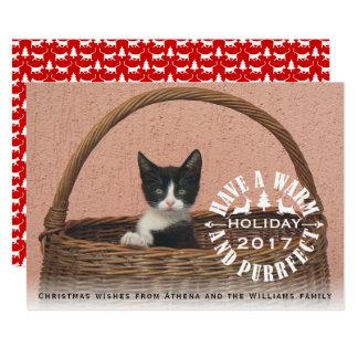Cartão Tenha um Natal morno e do purrfect do feriado do