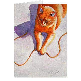 Cartão Teoria alaranjada da corda do gato malhado do
