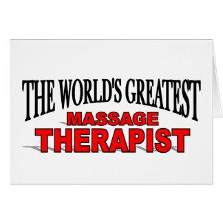 Cartão Terapeuta da massagem do mundo o grande