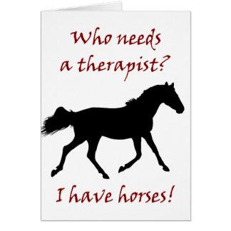 Cartão Terapeuta engraçado do cavalo