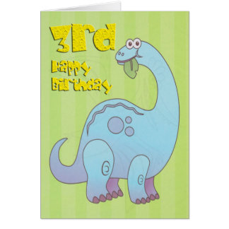 Cartão Terceiro dinossauro feliz do azul do aniversário