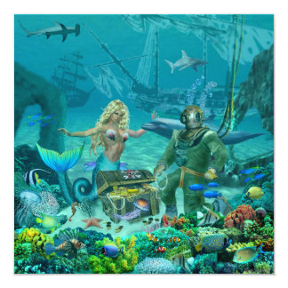 Cartão Tesouro do recife de corais da sereia