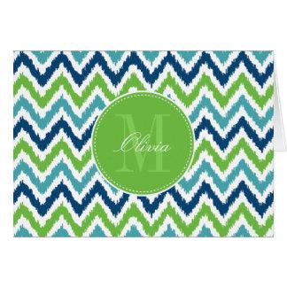 Cartão Teste padrão azul de Ikat do ziguezague do verde