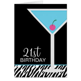 Cartão Teste padrão azul de Martini e de zebra