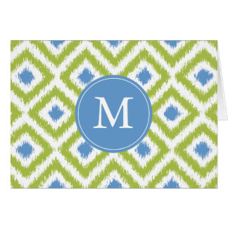 Cartão Teste padrão azul verde Monogrammed de Ikat dos