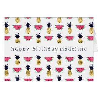 Cartão Teste padrão bonito do Doodle do abacaxi & da