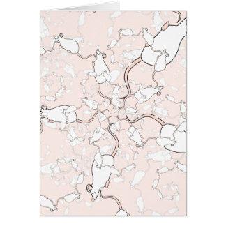 Cartão Teste padrão branco bonito do rato. Ratos no rosa