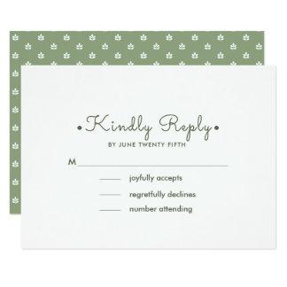 Cartão Teste padrão branco da folha do verde | que