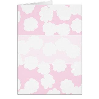 Cartão Teste padrão branco e cor-de-rosa das nuvens