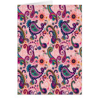 Cartão Teste padrão cor-de-rosa bonito de Paisley