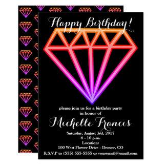 Cartão Teste padrão cor-de-rosa brilhante do diamante do