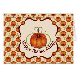 Cartão Teste padrão Curvy alaranjado do outono da abóbora