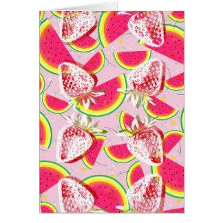 Cartão Teste padrão da festa do melão das morangos