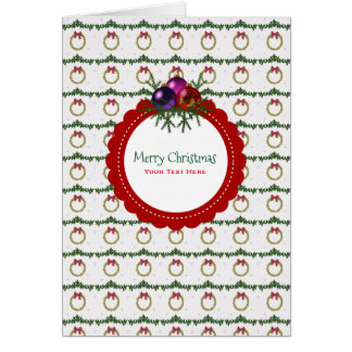 Cartão Teste padrão da grinalda do Natal com costume do