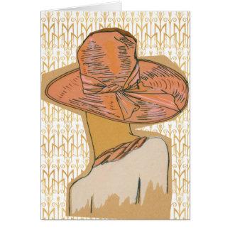 Cartão Teste padrão da tulipa do art deco com o chapéu da