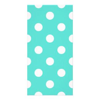 Cartão Teste padrão de bolinhas azul da cerceta