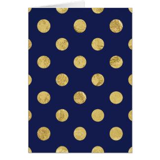 Cartão Teste padrão de bolinhas elegante da folha de ouro