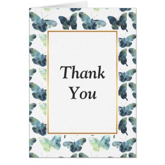 Cartão Teste padrão de borboletas azul verde artístico da