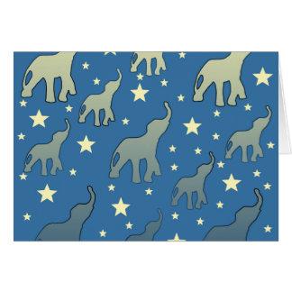Cartão Teste padrão de estrelas azul dos elefantes